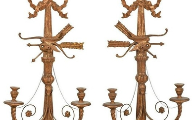 Pair of Louis XVI Style Carved Gilt Wood Sconces