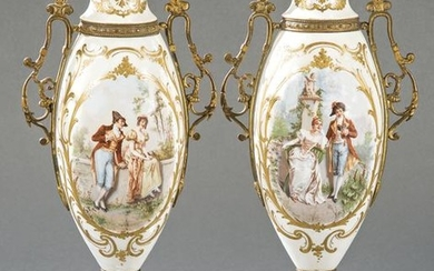Pair of Sèvres porcelain vases and gilded bronze