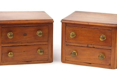 Pair of miniature walnut two drawer chests, each 17cm H