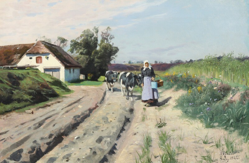 Peder Mønsted: A woman driving cattle a summer's day. Signed and dated P. Mønsted, Sæby 1922. Oil on canvas. 32×48.5 cm.