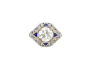 Platinum, Diamond and Synthetic Sapphire Ring