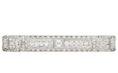 Platinum and Diamond Bar Brooch