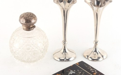 Property of a deceased estate - a pair of Edwardian silver p...