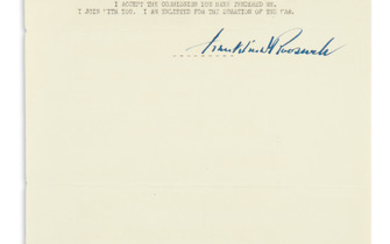 ROOSEVELT, FRANKLIN D. Typescript Signed, draft of the address accepting his second nomination for president