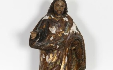 Religious Figure III, Hand-Carved and Painted Wood