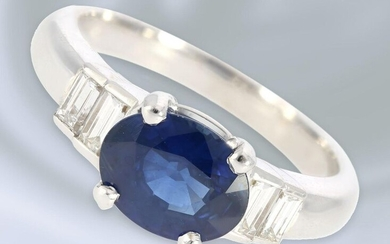 Ring: attractive vintage sapphire/diamond ring, ca. 2,4ct, sapphire...