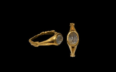 Roman Gold Ring with Carved Moonstone