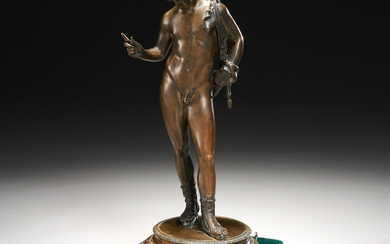 Roman style bronze figure of Narcissus, ex-museum