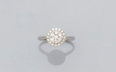 Round ring in white gold, 750 MM, covered with diamonds, size: 54, weight: 2.2gr. rough.