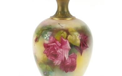Royal Worcester porcelain vase hand painted with flowers, 17...