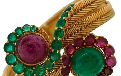 Ruby Emerald Yellow Gold BRACELET 1960s French Chic