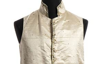 SILK AND LINEN VEST Late 18th Century Embroidered ivory silk...