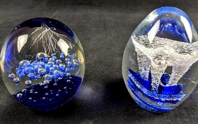 Set Of Two Glass Paperweights