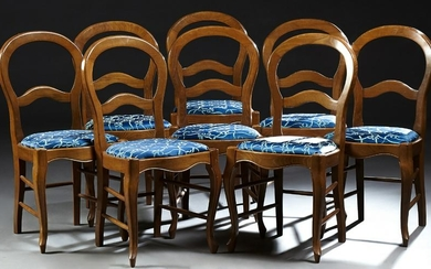 Set of Eight French Carved Beech Dining Chairs, 20th