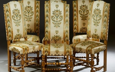 Set of Six Louis XIII Style Carved Walnut Dining