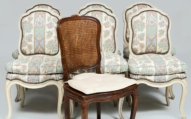 Set of Six Louis XV Style Cream Painted Dining Chairs