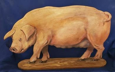 Signed, David Barder Hand carved and painted Wooden Pig