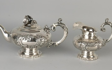 Silver tea milk jug, 833/000, convex model, beautifully