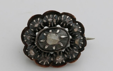Silver with gold brooch, 585/000, with diamond.&#160