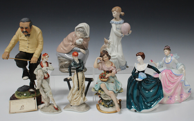 Six Lladro figures, including Sweet Scent, No. 5221, and Little Friskies, No. 5032, two Nao figures