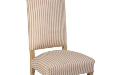 Suite of Ten Chairs and Two High Back Armchairs in wood and striped fabric.
