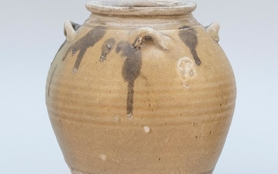 """TANG POTTERY VASE Ovoid, with brown splashes and loop handles at shoulder. Height 8""""."""