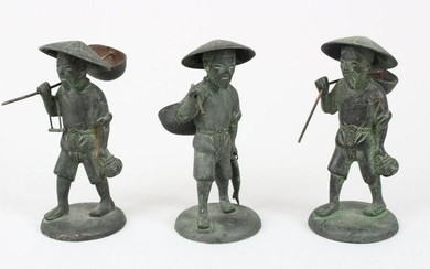 THREE GOOD 19TH / 20TH CENTURY CHINESE BRONZE FIGURES,