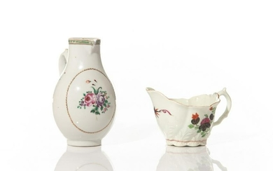 TWO 18TH C HAND PAINTED PORCELAIN CREAM JUGS