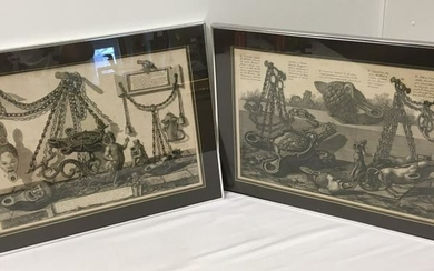 TWO G.B. PIRANESI FRAMED ETCHINGS: BRONZE ARTIFACT