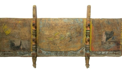 Tail-Sicilian cart. In polychrome wood, carved and