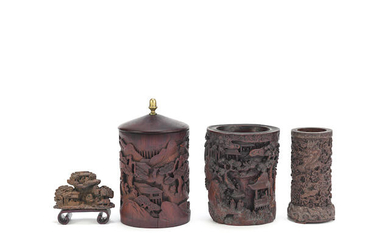 Three carved brushpots and a bamboo brushrest