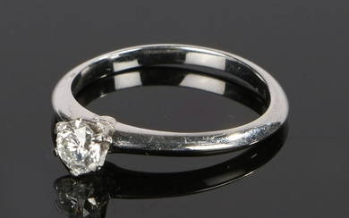 Tiffany platinum and diamond solitaire ring, with an