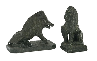 Two Carved Serpentine Marble Animals