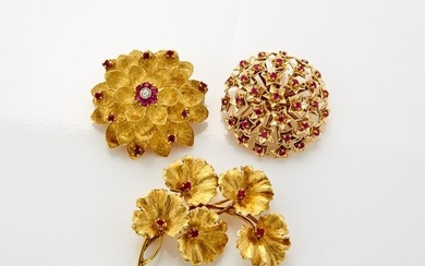 Two Gold and Ruby Brooches, Tiffany & Co., Gold, Ruby and Diamond Flower Brooch, Cartier