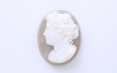 Two-layer agate cameo depicting the left profile of...