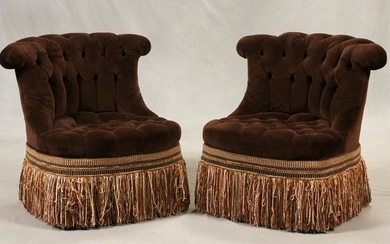 UPHOLSTERED BOUDOIR CHAIRS, PAIR