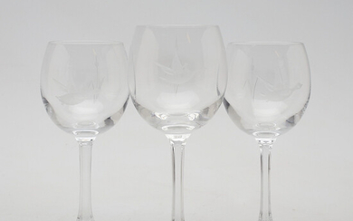 Details about Lot of 2 Kosta Boda Crystal Wine Glass Signed Approx 5 34