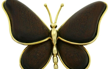 Van Cleef & Arpels Wood Gold Butterfly BROOCH Pin Clip