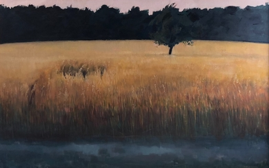 Very Large C20th Oil on Canvas 'Evening Field Near The Black...