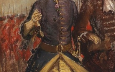 Vilhelm Rosenstand: A study of a Swedish officer. Signed with monogram. Oil on canvas. 45.5×25.5 cm.