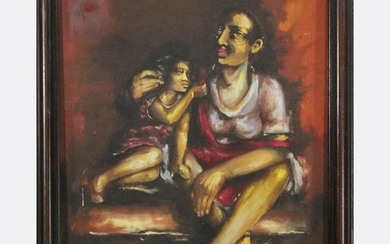 Vintage Oil Painting South American Mother and Daughter