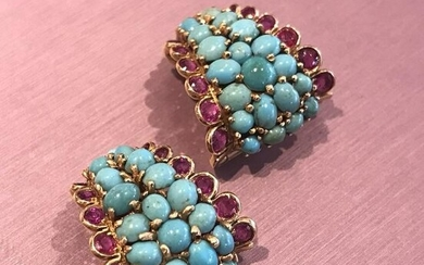 Vintage Ruby and Turquoise Earrings in 18k Yellow Gold