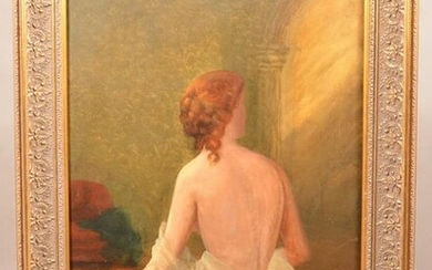 W. H. Yates Oil On Canvas Female Nude Painting.