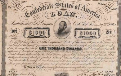 $1000 Confederate Bond, Act of February 20, 1863