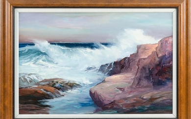 "ROGER WILLIAM CURTIS, Massachusetts, 1910-2000, ""Gale Winds -- Gloucester Mass""., Oil on canvas, 20"" x 30"". Framed 27"" x 37""."