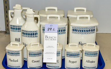 (12) German Pottery Canisters and Cruets