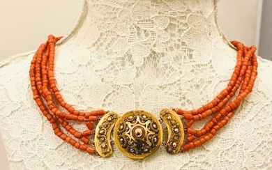 14 kt. Gold - Necklace Blood coral
