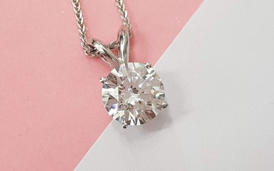 14 kt. White gold - Necklace with pendant - 0.98 ct Diamond - NO RESEREV D VS2