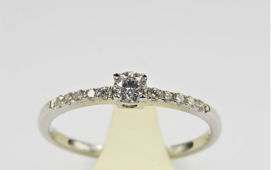14 kt. White gold - Ring - 0.39 ct Diamond