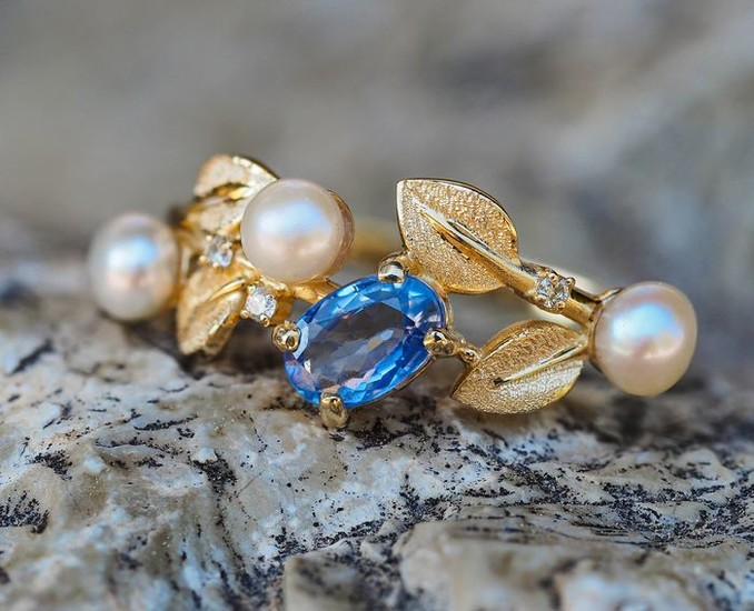 14 kt. Yellow gold - Ring Sapphire - Diamonds, Pearls